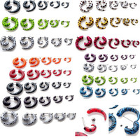 Plugs & Tunnels fake gauges - Brand New Fashion Acrylic Spiral Gauge Ear Plug Fake Cheater Stretcher Earring Piercing BA32 BA33 BA34 BA35