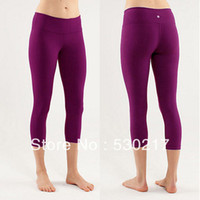 Wholesale LULULEMON WUNDER UNDER CROP Super quality Yoga Capris Sport Pants Dark purple Size4