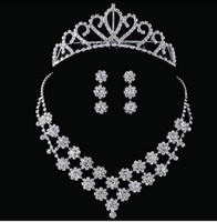 Wholesale rhinestone bridal jewelry bridal sets of chain two piece suit wedding accessories necklace earrings Headdress a252