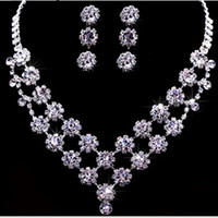 Wedding Jewelry Sets Celtic Wedding rhinestone bridal jewelry wholesale bridal sets of chain two-piece suit wedding accessories (necklace + earrings ) a247