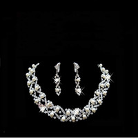 Wedding Jewelry Sets american headdress - 2pcs set bridesmaid jewelry sets Luxury diamond pearl bridal jewelry sets necklace or headdress earrings suit a245