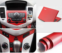Wholesale New Sq ft quot x60 quot D RED Carbon Fiber Texture Vinyl Wrap Decal Film Sheet Car Auto DIY