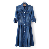 Wholesale Fashion summer slim jeans denim dress women s thin blue solid color xl xxl XXXL half three quarter sleeve plus size