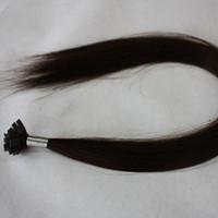 Cheap Indian Hair flat tip hair extensions Best Black Straight Italian keratin remy hair