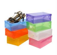 Plastic big lots storage - 10pcs cm Big Size Transparent Stackable Crystal Clear Plastic Shoe Clamshell Storage Boxes