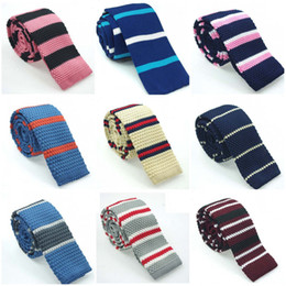 Wholesale New Men s Knitted Striped Ties Europe Style Brand Slim Necktie Mens Shirt Narrow Type Flat Tie For Men