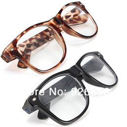 Wholesale Retro Clear Lens Wayfarer Nerd Hipster Glasses Fancy Dress Sexy Rave Party White Black Leopard