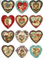 Wholesale 6pcs cm DIY Heat Transfer Printing Victoria Style heart Iron on Heat press Ornament of cloth art