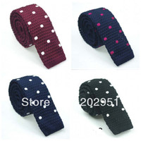 Bow Tie   New 2013 Men's Knitted Dot Ties Europe Style Brand Slim Necktie Mens Shirt Narrow Type Flat Tie For Men FREE SHIPPING