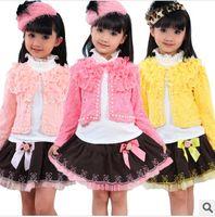 Girl Spring / Autumn Long wholesale 3pcs girls set, outwear + T-shirt + tutu dress, girls lace set, baby clothing set (MOQ: 1 lot=4sets)