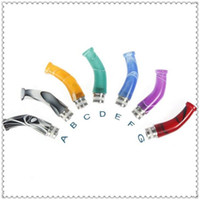 acrylic pipe fittings - 2014 Newest Acrylic Hybrid Curved drip tips with color fit pipe Vivi Nova RBA atomizer
