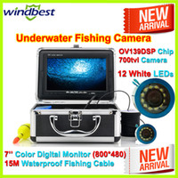 "Yes Video Camera CMOS 2014 New Arrival 700TVL 12pcs White LED 7"" TFT Color LCD Underwater Ice Video Fishing Camera Metal Case 15M Cable Aluminum Case"