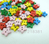 Cheap 400Pcs Star Shape Random Mixed Color 2 Holes Wood Sewing Buttons 13mm Fit Scrapbook