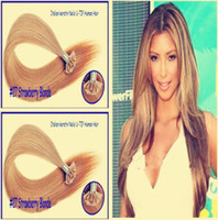 """Indian Hair Blonde Straight Wholesale - 14""""-24"""" Pre Keratin Flat-Tip indian Human Hair Extension #27 Strawberry blonde ,1g s 100g set"""