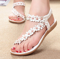 Women summer shoes - 2014 Bohemian Thong sandals shoes pinches summer women shoes new beads flowers girl flat shoes