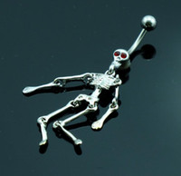 bell rock - 0034 The Rock skeleton navel buckle ornaments piercing jewelry Belly Button Navel Rings with mix colors
