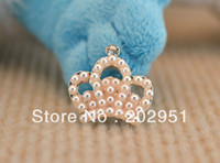 Wholesale 100pcs mm Flat Back Pearl Crown Buttons Metal Crystal dimond Rhinestone Buitton beads Freeshipping