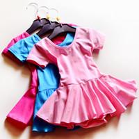 Wholesale 100 Cotton Dress Kids Ballet Dress Girls Paddy Dancewear Practice Wear for t y Bule pink rose
