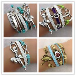 Wholesale cross believe Ballet Dancer infinity bracelets cuff bangle Charm Bracelet in velvet Cords and Leather Braid bracelets jewelry hy1103