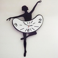 Mechanical Wall Clocks Yes Free Shipping DIY Black Ballet Girl Quartz Movement Art Home Decor Novelty Wall Clock NC0011