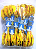 Wholesale 1M FT Noodle Flat Fabric braided wire Micro USB Sync Data Charger Cable HTC Sumsung S3 S4 V8 Micro usb