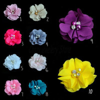 baby prop glasses - Chiffon Cloth Flowers Fabric Glass Rhinestone Flower For Baby Headbands Hairpin Corsage Flower Hair Accessories DIY Girl Photography props
