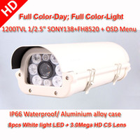 Cheap Full color Day&Night Sony 1200TVL HD CS Lens IR-Cut CCTV Security camera 8pcs White light LED suit for Car plate number
