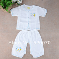 Unisex Spring / Autumn Short Wholesale 2014 New Baby Clothing Underwear Suit Newborn Infant T-shirt Tops Split Pants Set Summer Clothes Drop Shipping 16793