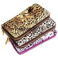 Wholesale new colors Women Leopard Print Skull Clutch Bag chain Handbag women s long leather Purse Bag grasp wallet tote