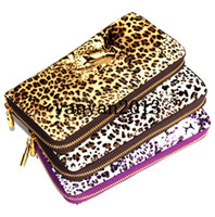 Wholesale new colors Women Leopard Print Skull Clutch Bag chain Handbag women s long leather Purse Bag grasp wallet tote