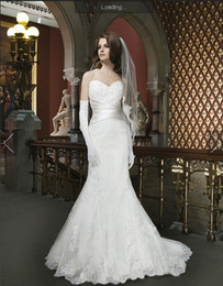 Wholesale Sweetheart White Lace Wedding Dresses Satin Waist Mermaid Justin Alexander Bridal Gowns Brush Train Sleeveless Covered Button