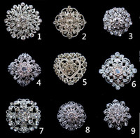 Wholesale 1 Inch Sparkly Silver Clear Rhinestone Crystal Diamante Flower Pins Wedding Cake Bouquet Accessory Brooch