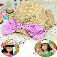 Beret Red Man Fashion 55cm New Cute Girl's Cap Kid's Hat Headwear Bowknot Straw Hat Fold Beach Sun Hat free shipping 10868