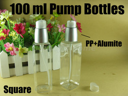 Wholesale 100ml exquisite alumite pump square refillable bottle make up Bottles Small Empty Bottle