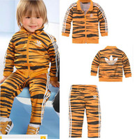 Unisex Spring / Autumn Long 5 sets lot 2014 newr boys girls tiger full sleeve jackets+long pants sports suit coats+pant set child kids clothes cartoon clothing blue red