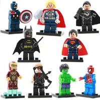 Wholesale legos Captain Hulk Spider Man Thor Iron Man Hawkeye Zod Batman Superman Building Blocks Sets Minifigure DIY Bricks legoland Toys