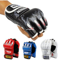 Wholesale Hot Sale colors Half Finger Boxing Gloves Sanda Fists Fighting Sandbag Gloves Made of High Quality PU leather