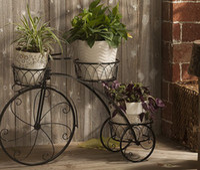Wholesale freeshippingHome Garden Decor Wrought Iron Plant Stand Flowers Pot Bike OutdoorBicycle Home Garden Decor Wrought Iron Plant Stand