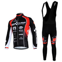 Wholesale COOL black red CUBE Winter Thermal Fleece Long Sleeves Bib Cycling Jersey Cycling Clothes