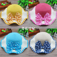 Wholesale Dot bow tidal wave of children girl boy hat hat beach hat summer hat