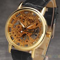 Wholesale Men s Winner Gorgeous Ultra thin Luxury Golden Gold Hollow Carve Dial Luxury Mechanical Clock Watch