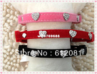 Wholesale pet Black pink red Velvet and Heart Diamonte cat collar with silver bell breakaway safety buckle