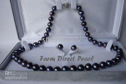 New Fine Pearl Jewelry Genuine ROUND 18INCHES 9-10mm Black Pearls Necklace Earring Set