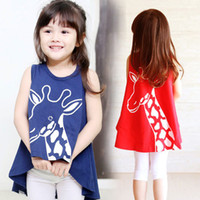 Wholesale Summer Girls Dress clothes loveliness cartoon Long deer long pattern sleeveless casual Children T Shirts Kids vest T Shirt TX356