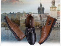 Wholesale Brand Genuine leather flat shoes casual Handmade mens casual loafers Leather Business shoes