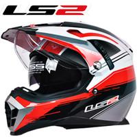 Wholesale New LS2 motorcycle helmet MX455 dual lens professional off road dirt bike helmet full face helmet safety adjustable airbags