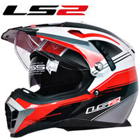 Full Face off road dirt bike - New LS2 motorcycle helmet MX455 dual lens professional off road dirt bike helmet full face helmet safety adjustable airbags