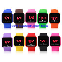 Wholesale Mix colours touch LED watch screen Digital Watch soft band Jelly LED Candy Watch LT005