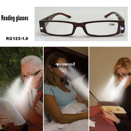 Wholesale Hot BLACK BROWN Plastic Frame Presbyopic Strength Reading Glasses with LED Light Good for Reading at Night