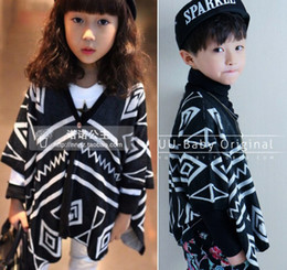 Wholesale new kids jackets amp coats black white geometric shawl knitted cardigan coats and jackets for children